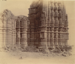 Close view from the south of façade of the Manikeshvara Temple, Jhodga, showing moulding details